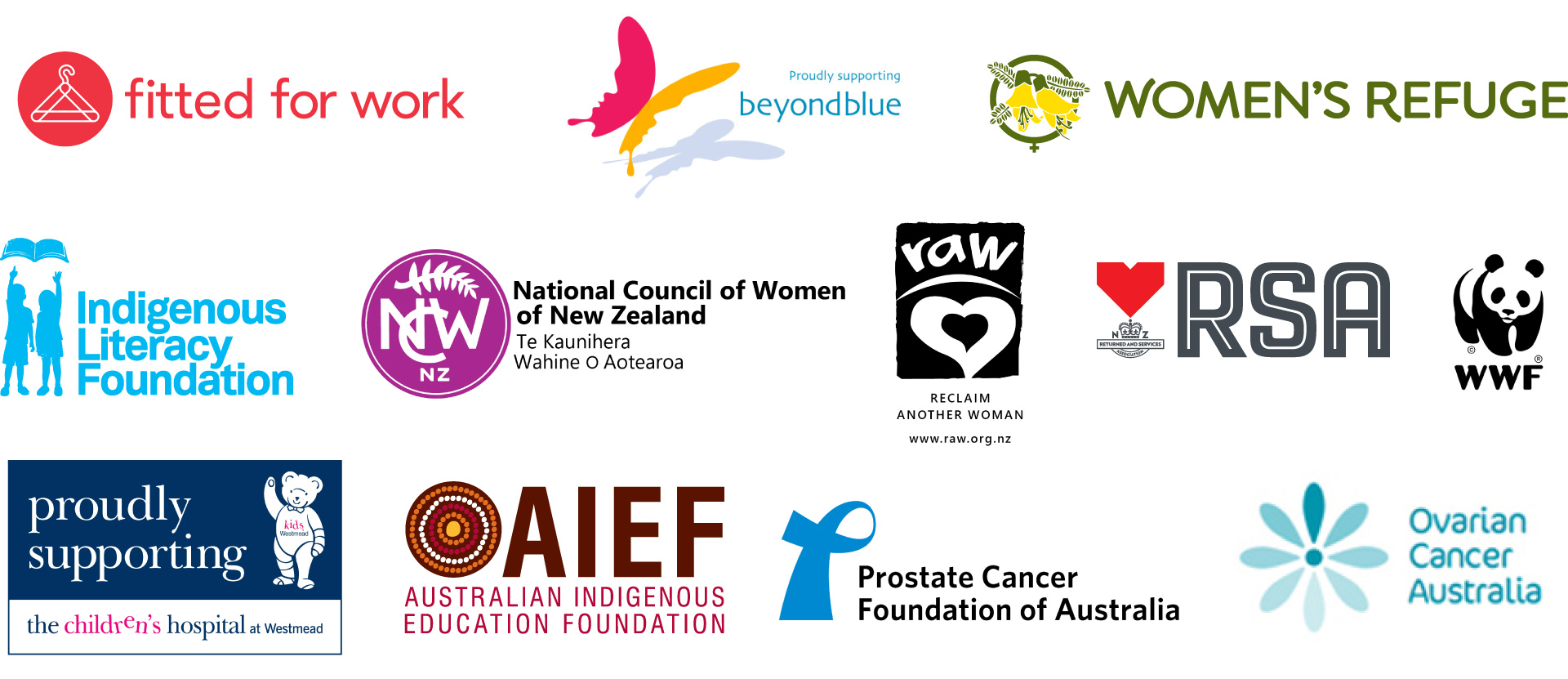 Logos for various community groups supported