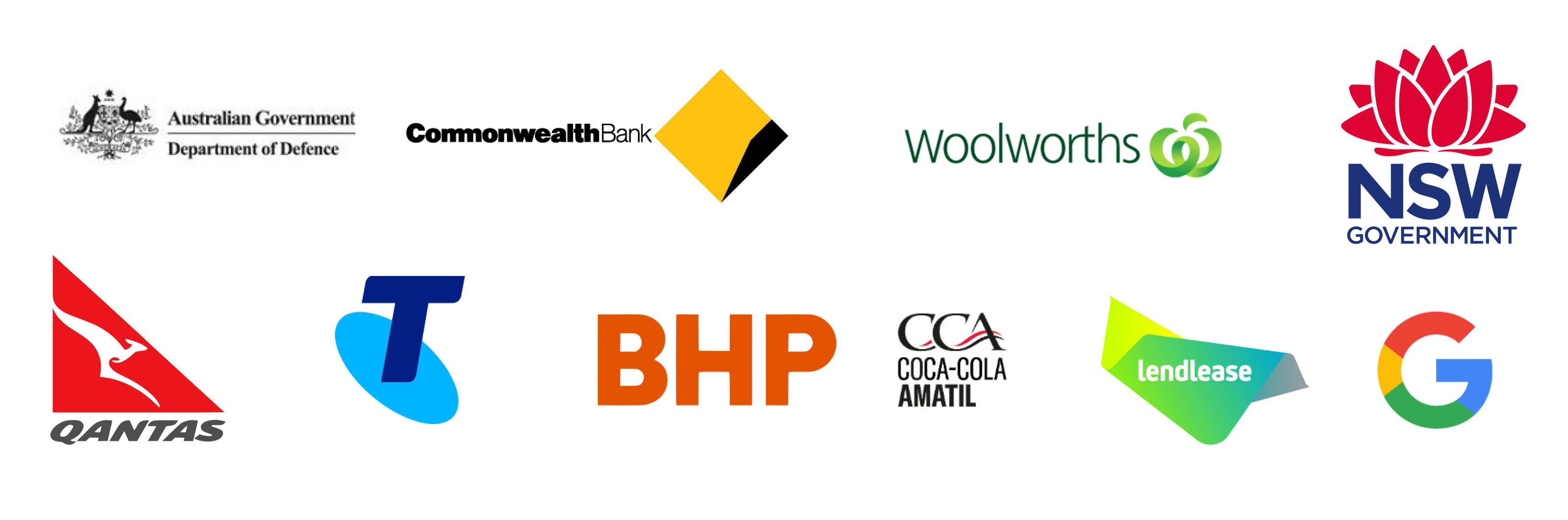 NSW government, Commonwealth bank, Australian Government Department of Defense, Woolworths, Quantas, Telstra, BHP, Coca Cola Amatil, Leandlease, Google
